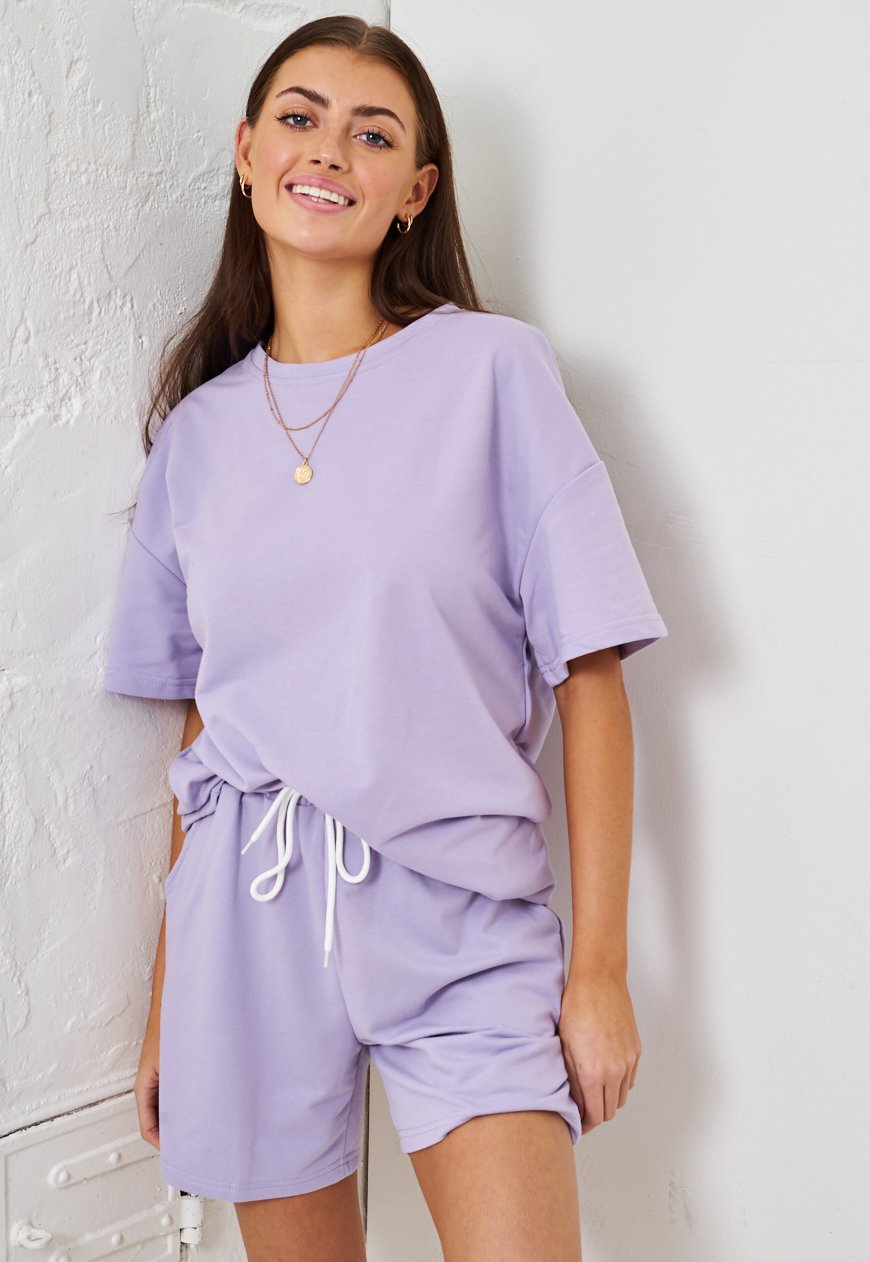 Purple Jersey Loungewear Shorts & T-Shirt Set - love frontrow