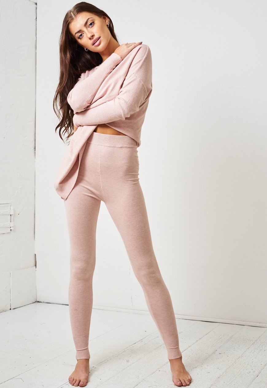 Soft Knit Blush Pink Two Piece Loungewear Set - love frontrow