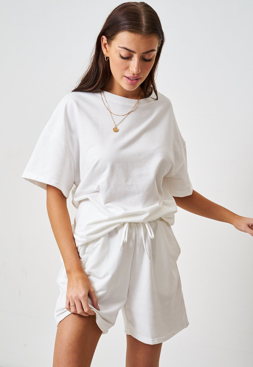 White Jersey Loungewear Shorts & T-Shirt Set - love frontrow
