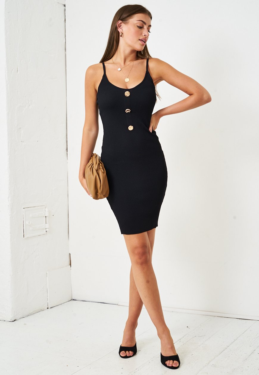 Stretch Knit Bodycon Dress in Black - love frontrow