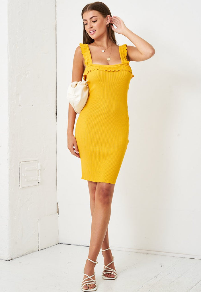 Stretch Knit Bodycon Dress in Yellow - love frontrow