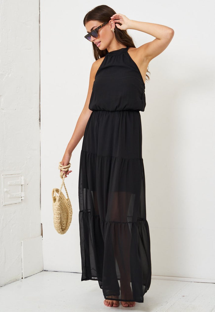 Black Halterneck Maxi Dress - love frontrow