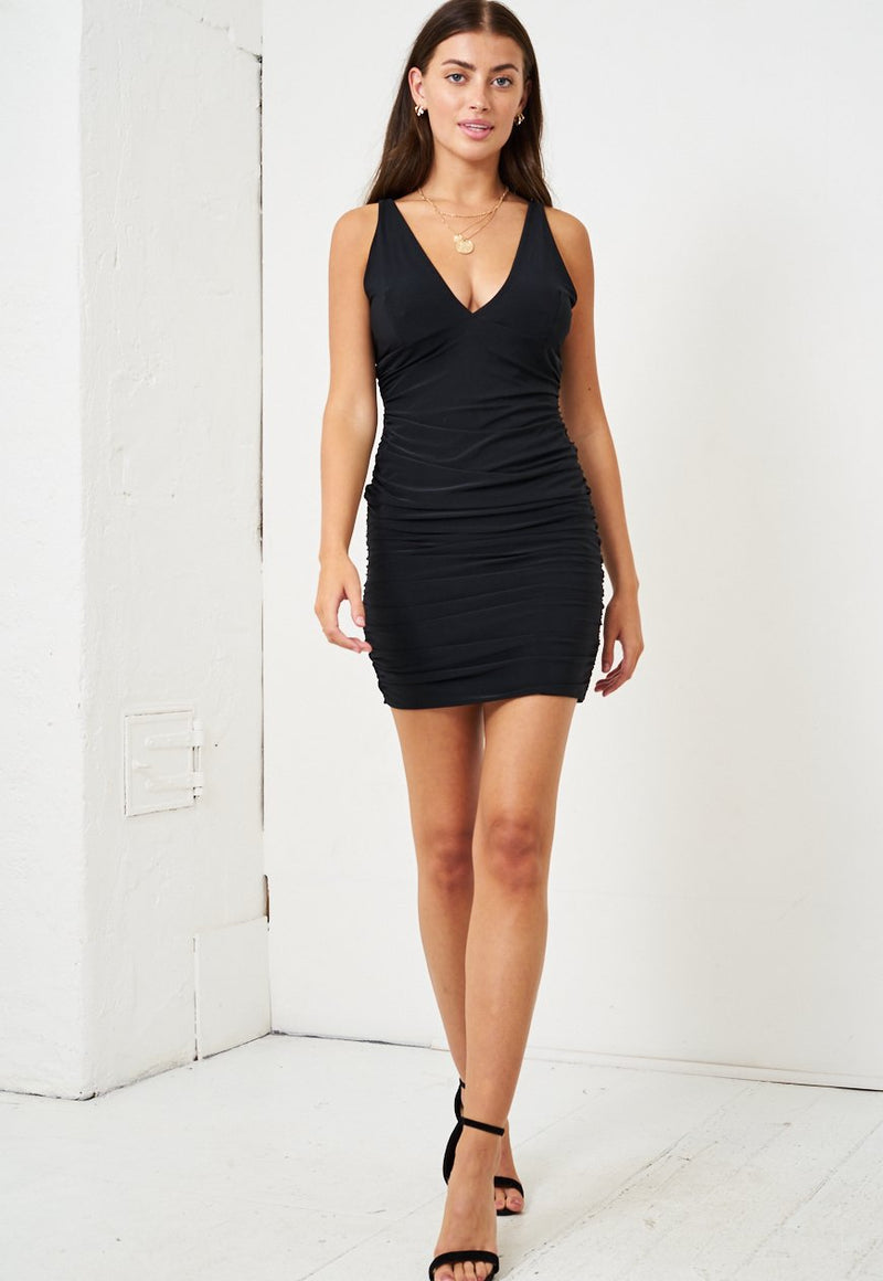 Black Slinky Ruched Bodycon Dress - love frontrow
