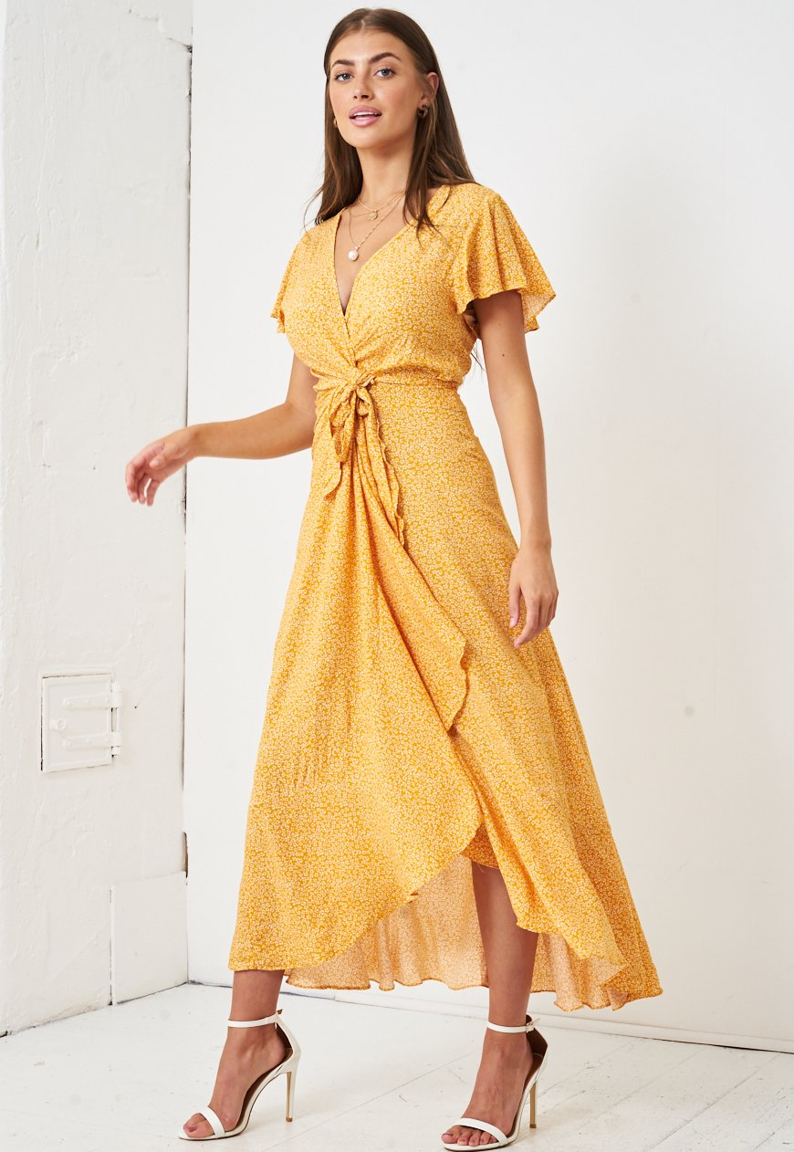 Ditsy Floral Short Sleeve Maxi Wrap Dress in Yellow - love frontrow