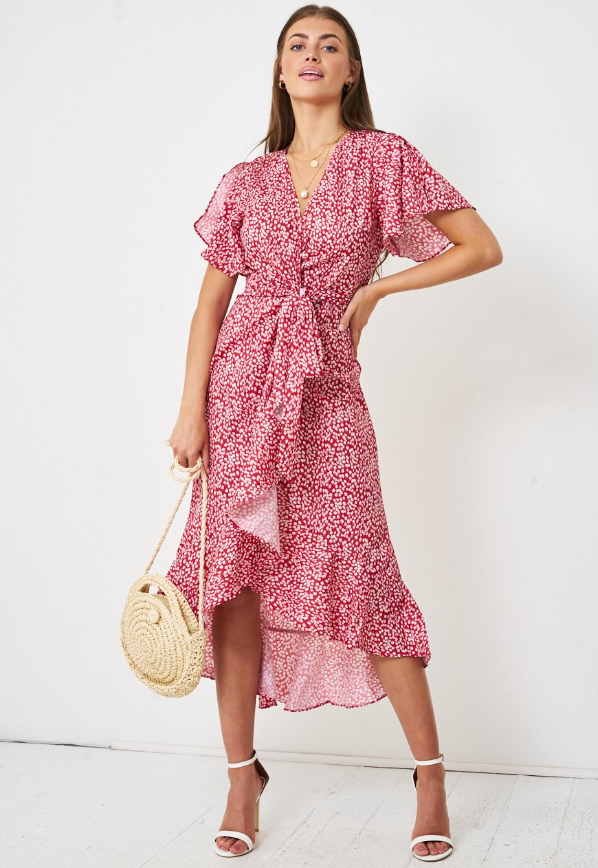 Floral Ditsy Print Short Sleeve Wrap Dress in Red - love frontrow