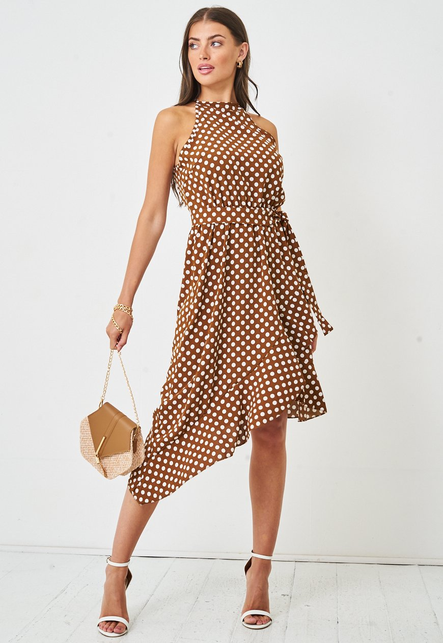 Halterneck Polka Dot Midi Dress in Brown - love frontrow