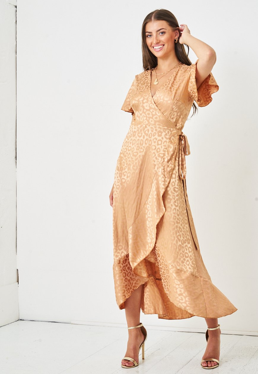 Jacquard Leopard Print Angel Sleeve Wrap Dress in Gold - love frontrow