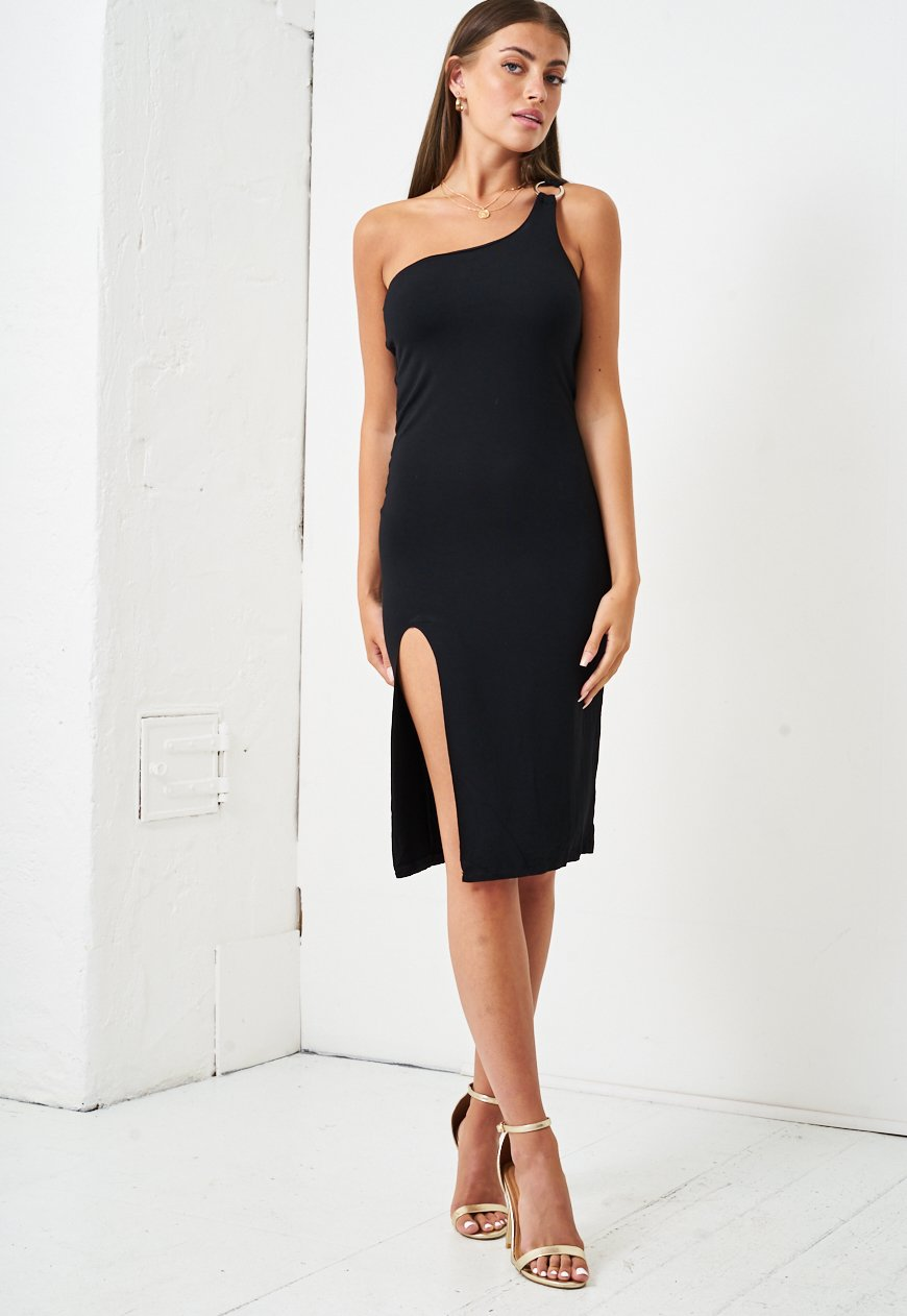 One Shoulder Jersey Dress in Black - love frontrow