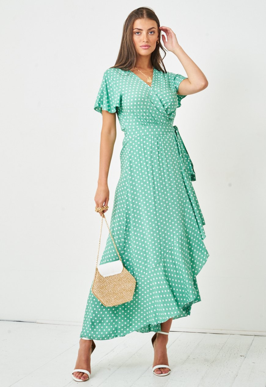 Polka Dot Short Sleeve Maxi Wrap Dress in Green - love frontrow