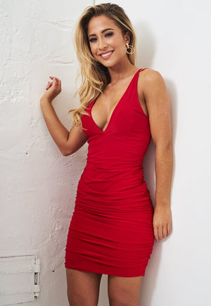 Red Slinky Ruched Bodycon Dress - love frontrow