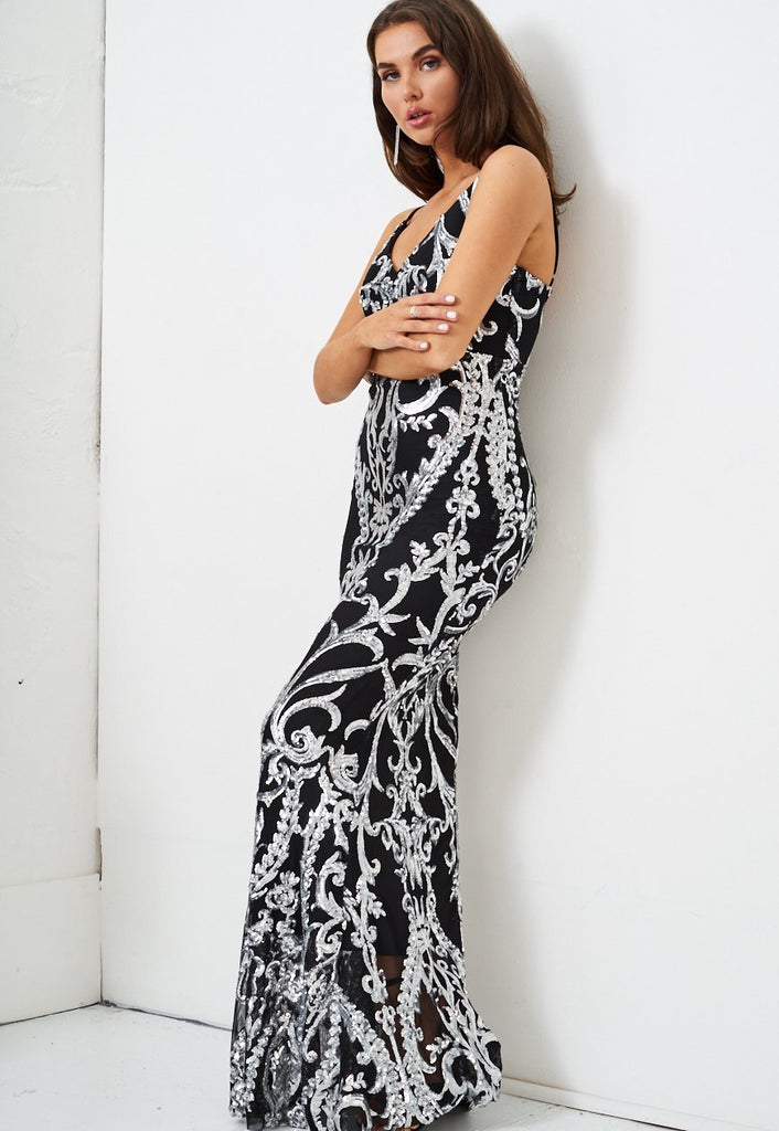 Sequin Gown in Black And Silver - love frontrow