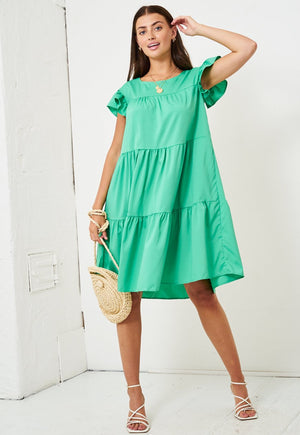 Tiered Smock Midi Dress in Green - love frontrow