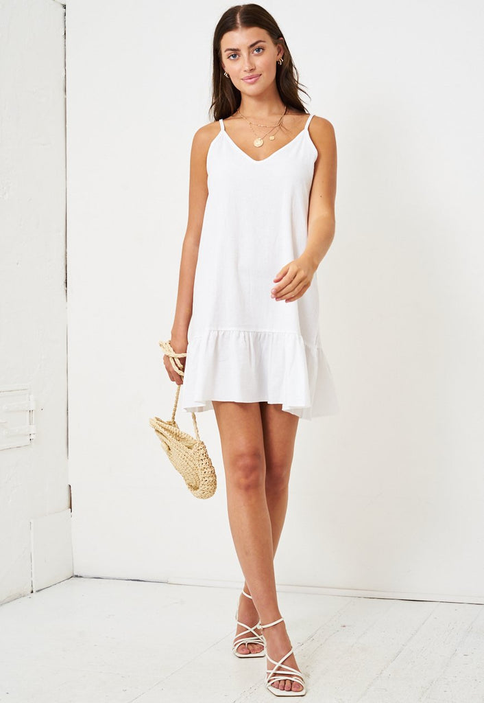 White Summer Mini Dress - love frontrow