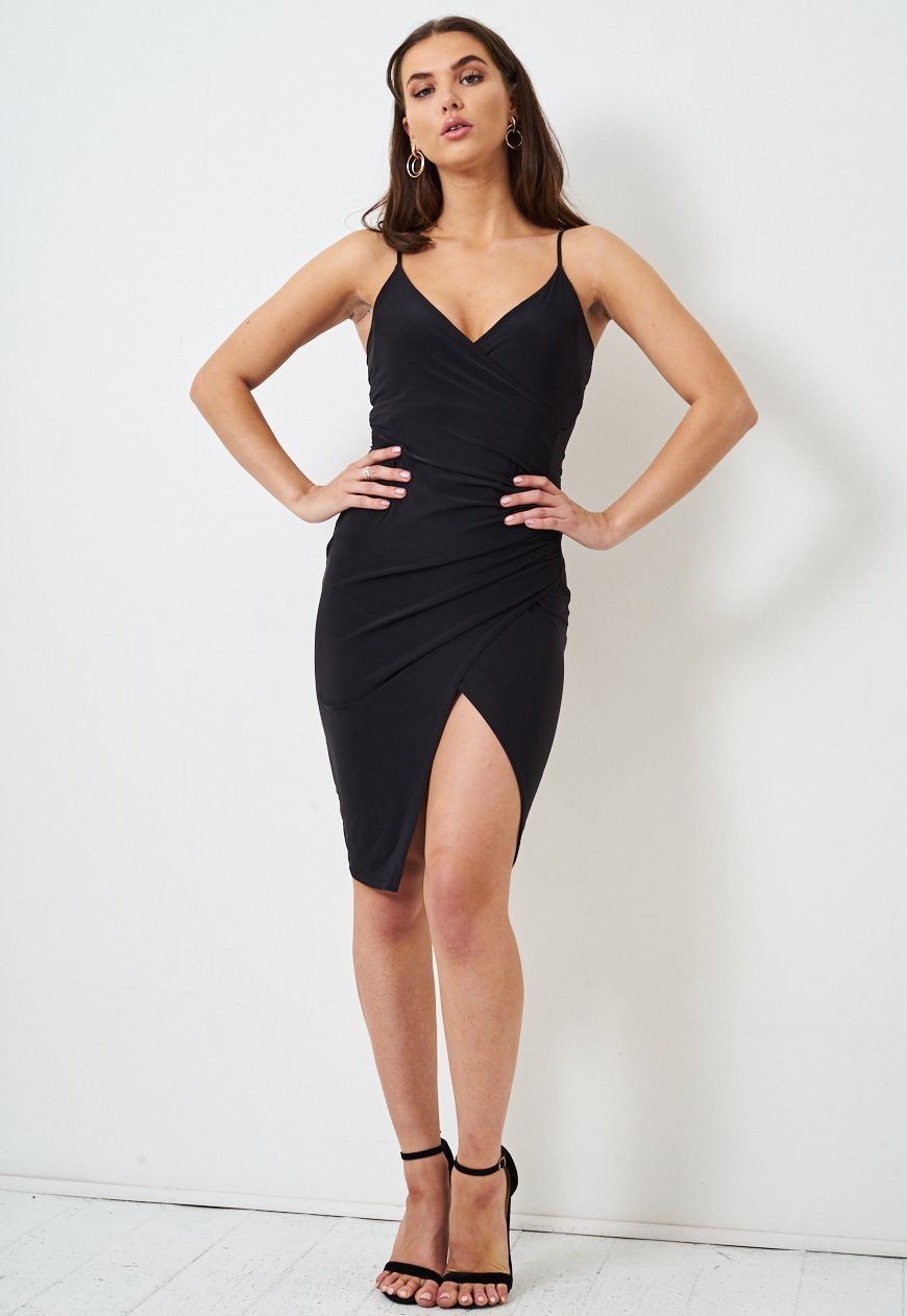 Black Wrap Effect Slinky Dress - love frontrow