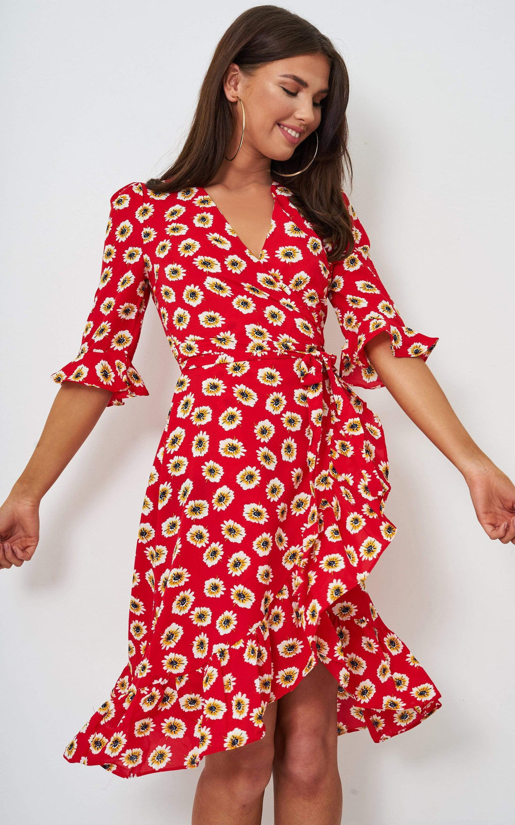 Aerin Red Floral Wrap Dress - love frontrow
