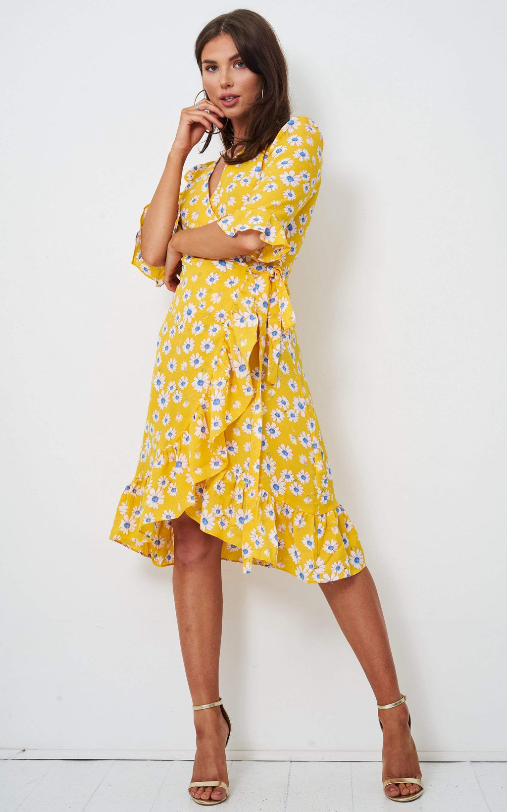 Aerin Yellow Floral Wrap Dress - love frontrow