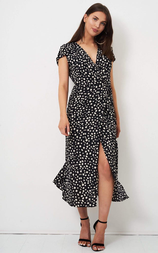 Alaina Leopard Midi Wrap Dress - love frontrow