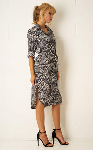 Alexis Grey Leopard Print Belted Shirt Dress - love frontrow