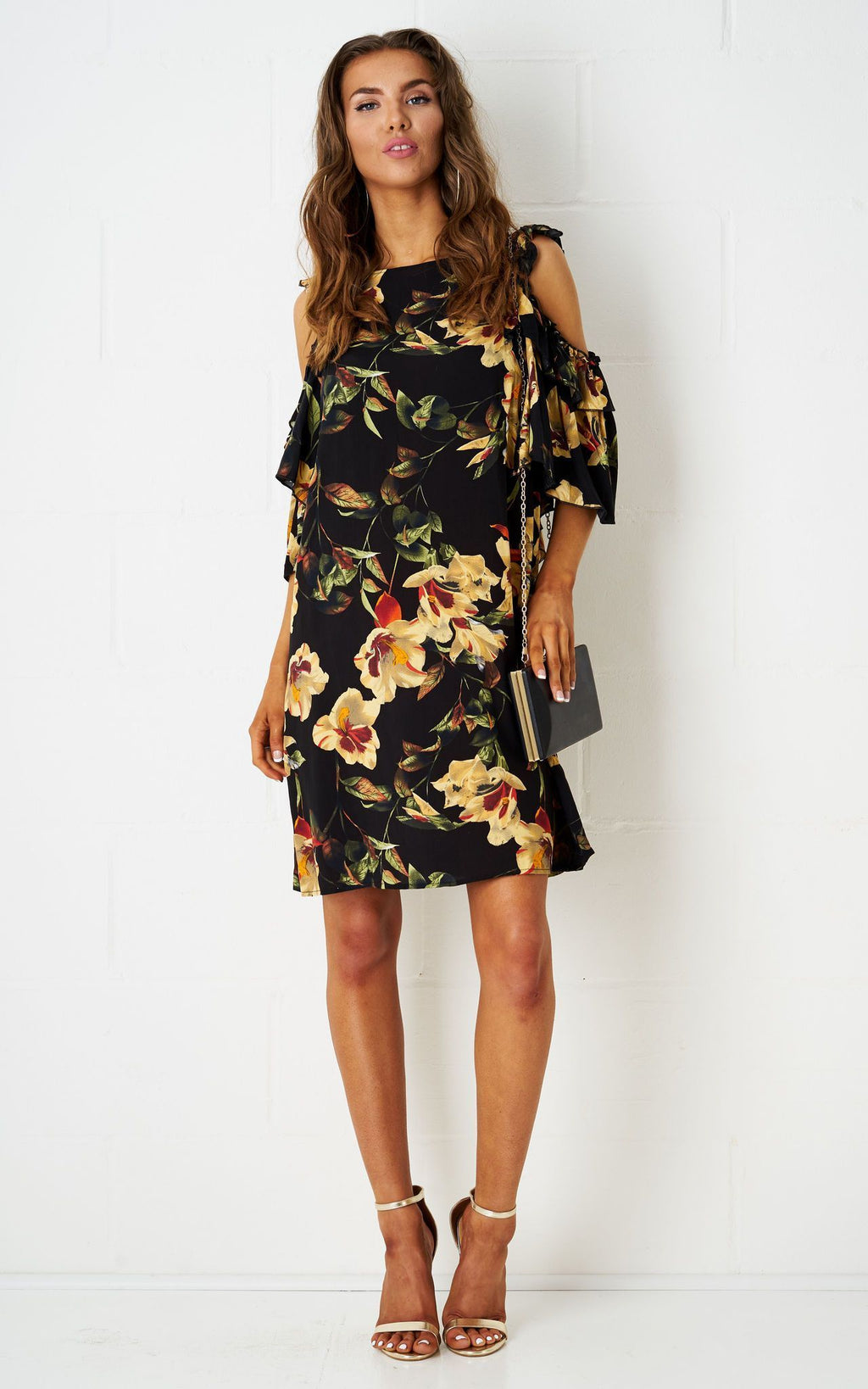 Anabella Floral Cold Shoulder Dress - love frontrow