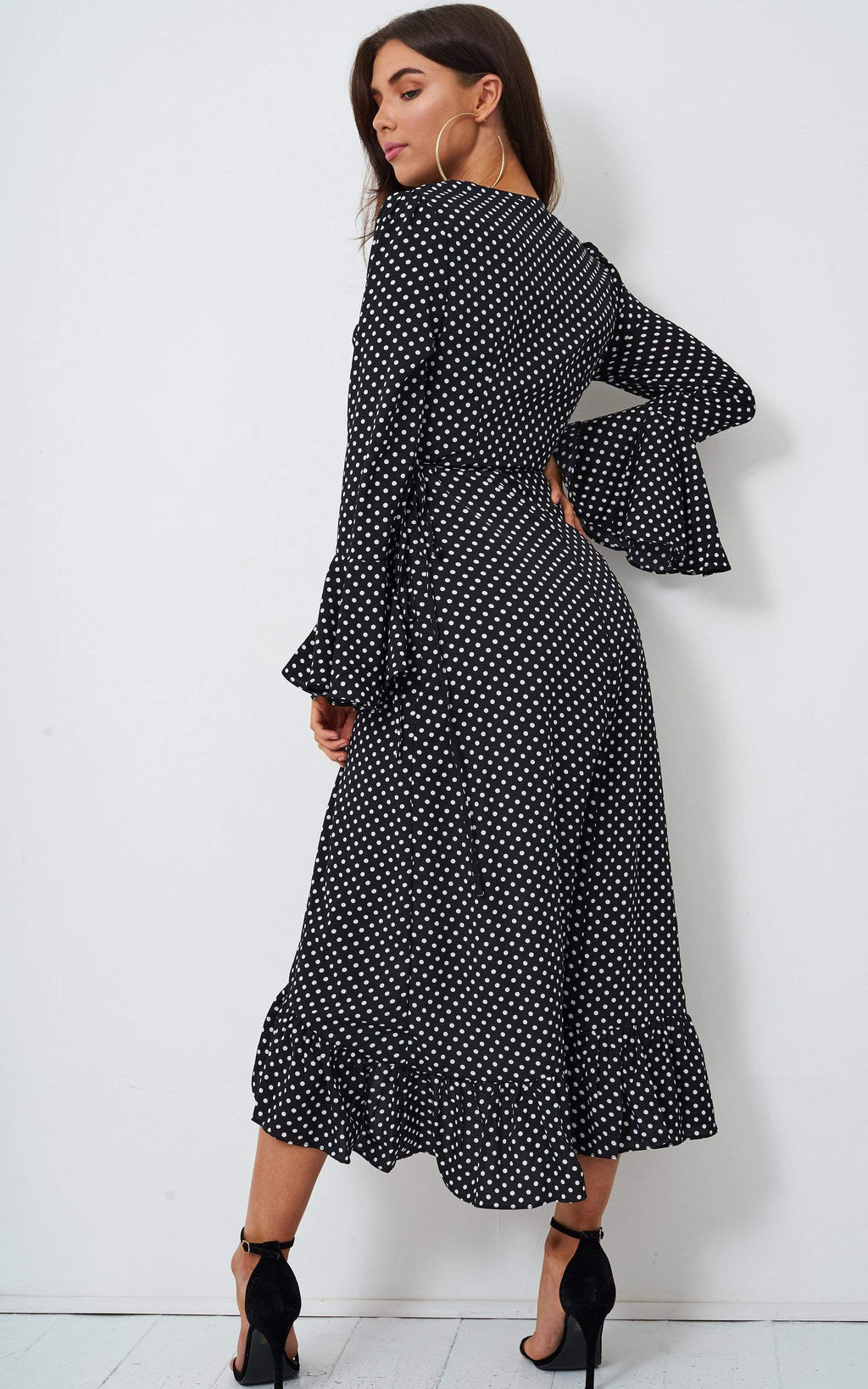 Antoniya Black Polka Dot Long Sleeve Dress - love frontrow