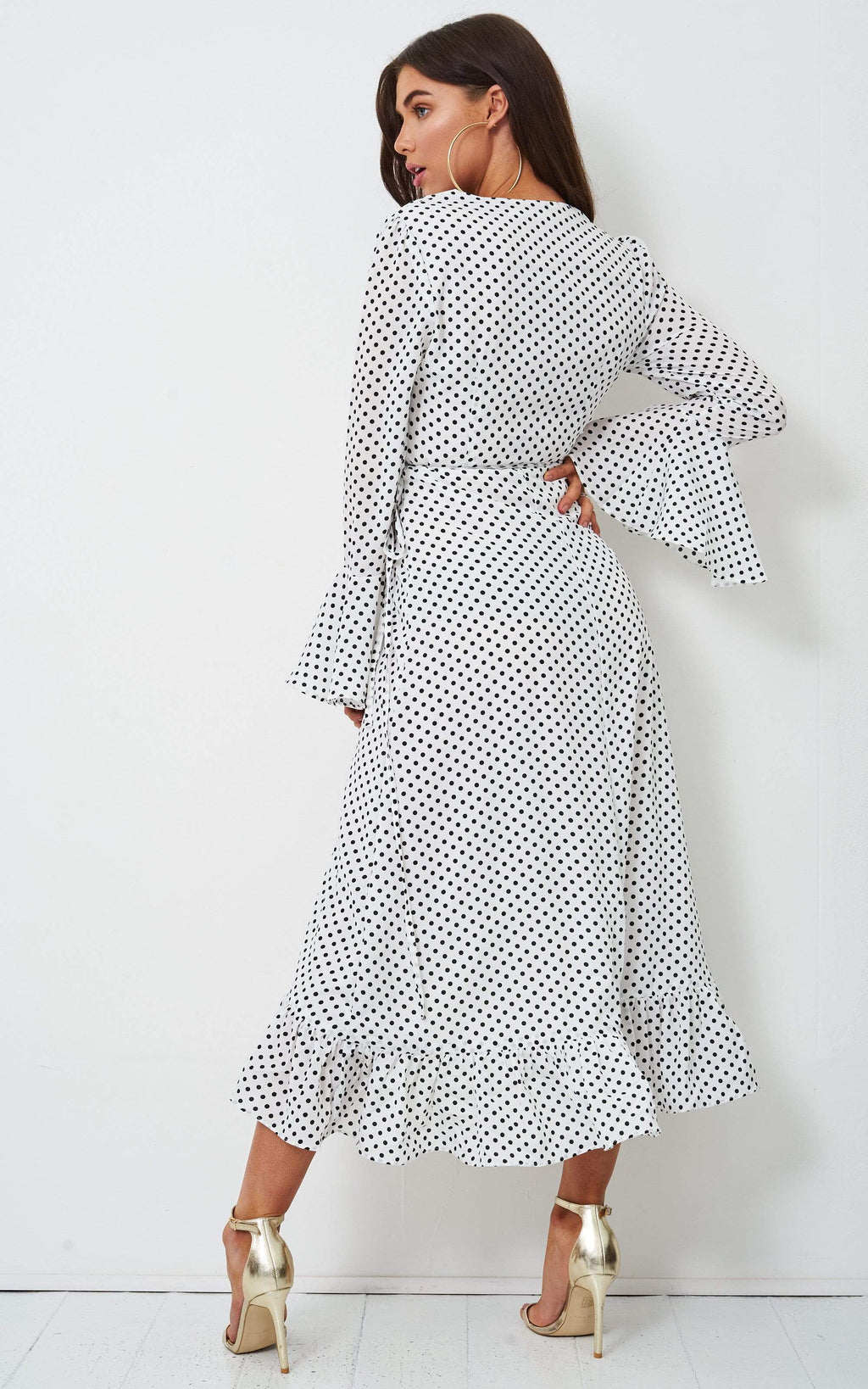 Antoniya White Polka Dot Long Sleeve Dress - love frontrow