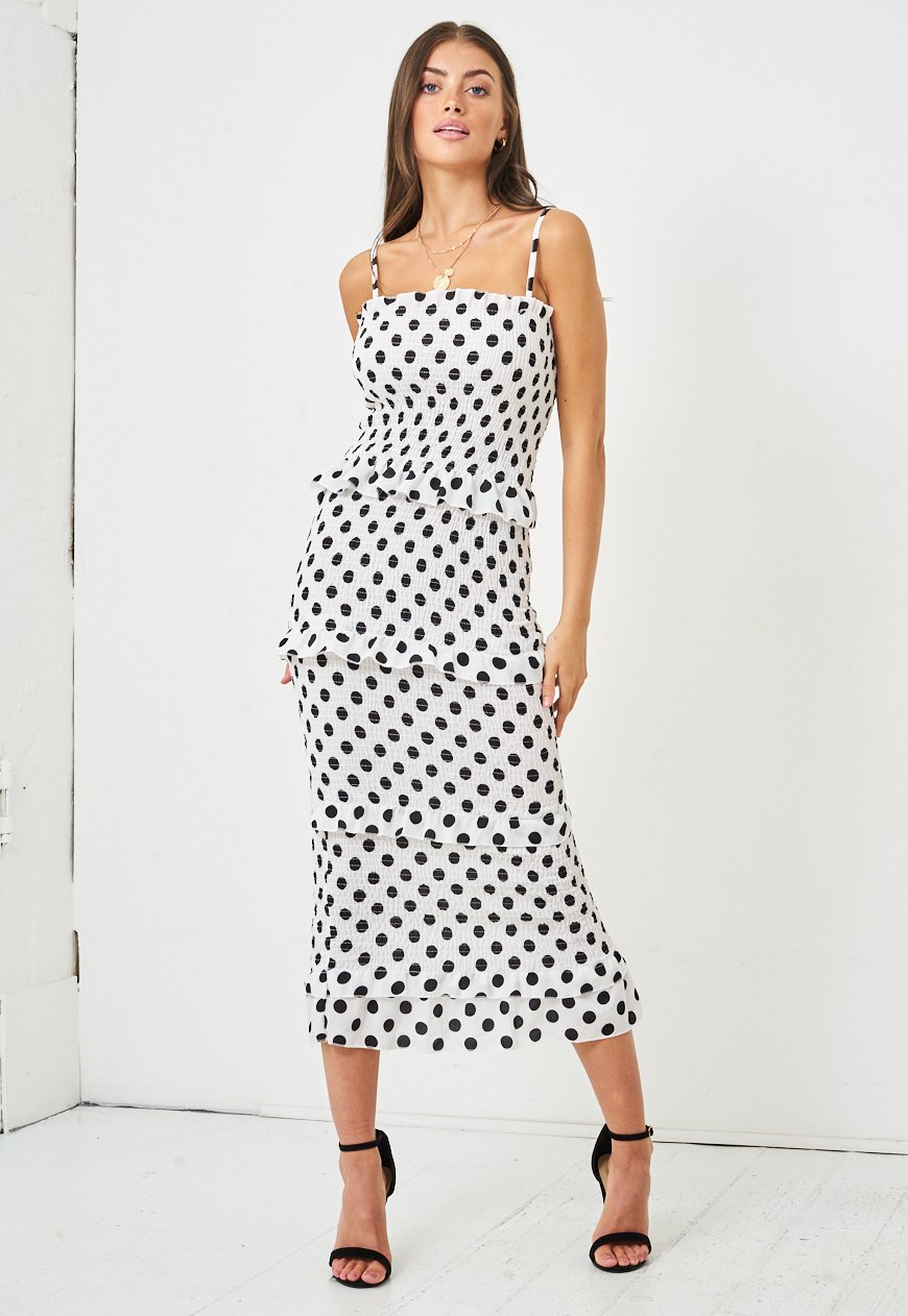 Black and White Polka Dot Shirred Bodycon Dress - love frontrow