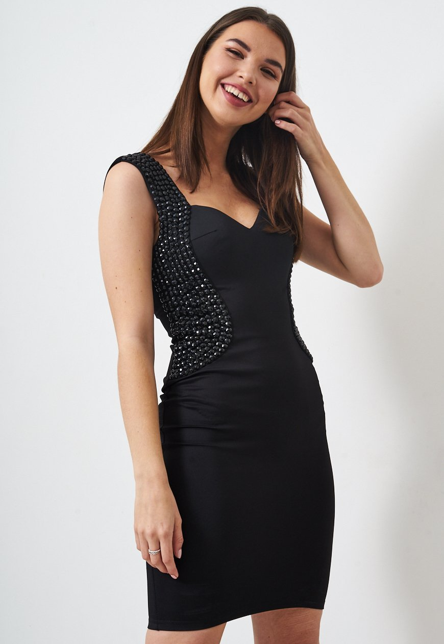 Black Bodycon Sequin Dress - love frontrow