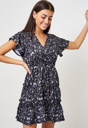 Black Ditsy Floral Mini Smock Dress - love frontrow