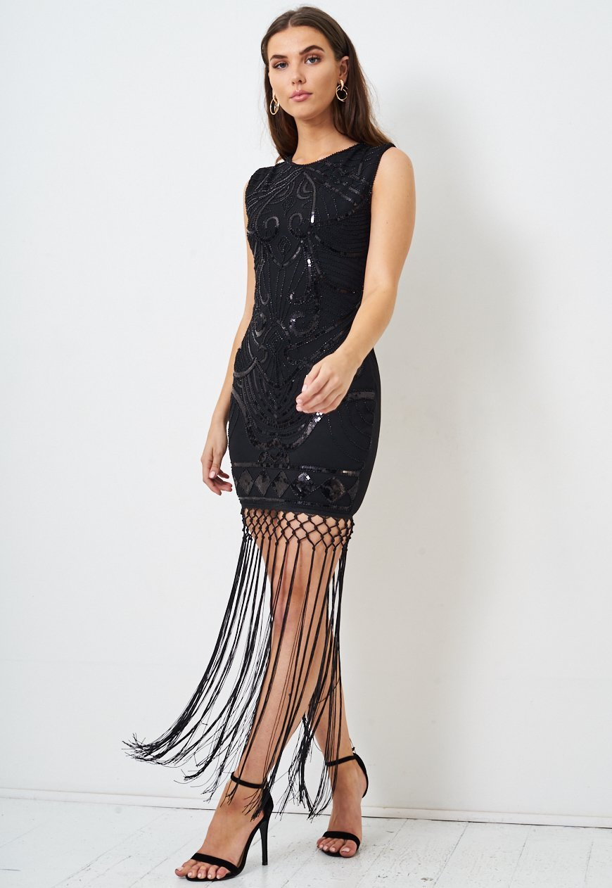 Black Fringe Hem Sequin Dress - love frontrow