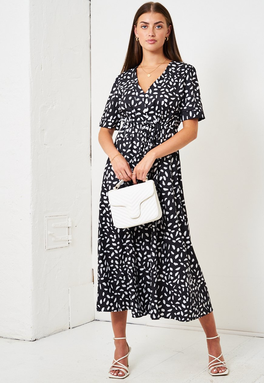 Black Leopard Print Short Sleeve Midi Smock Dress - love frontrow