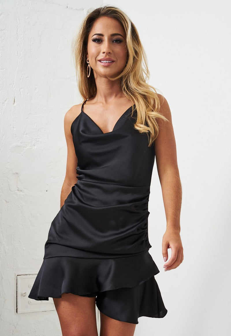Black Ruched Satin Mini Dress - love frontrow