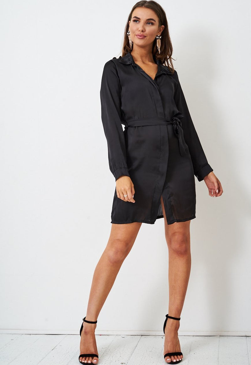 Black Satin Shirt Dress - love frontrow