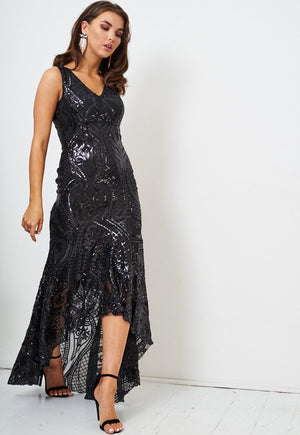 Black Sequin Fishtail Gown - love frontrow