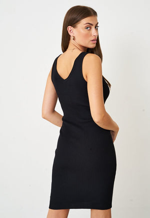 Stretch Knit Button Dress in Black - love frontrow