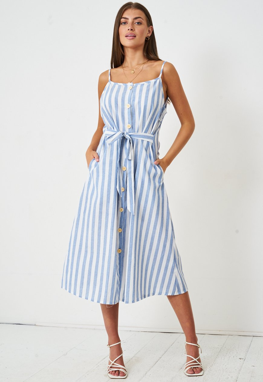 Blue Striped Linen Midi Dress - love frontrow