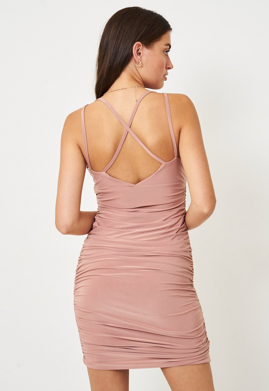 Frontrow Dress Blush Slinky Ruched Bodycon Dress