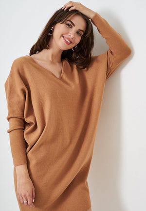 Camel Keyhole Batwing Knit Jumper Dress - love frontrow