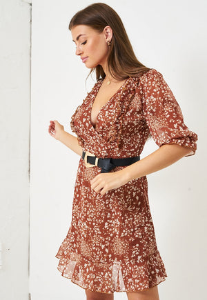 Ditsy Floral Print Short Sleeve Mini Dress in Brown - love frontrow