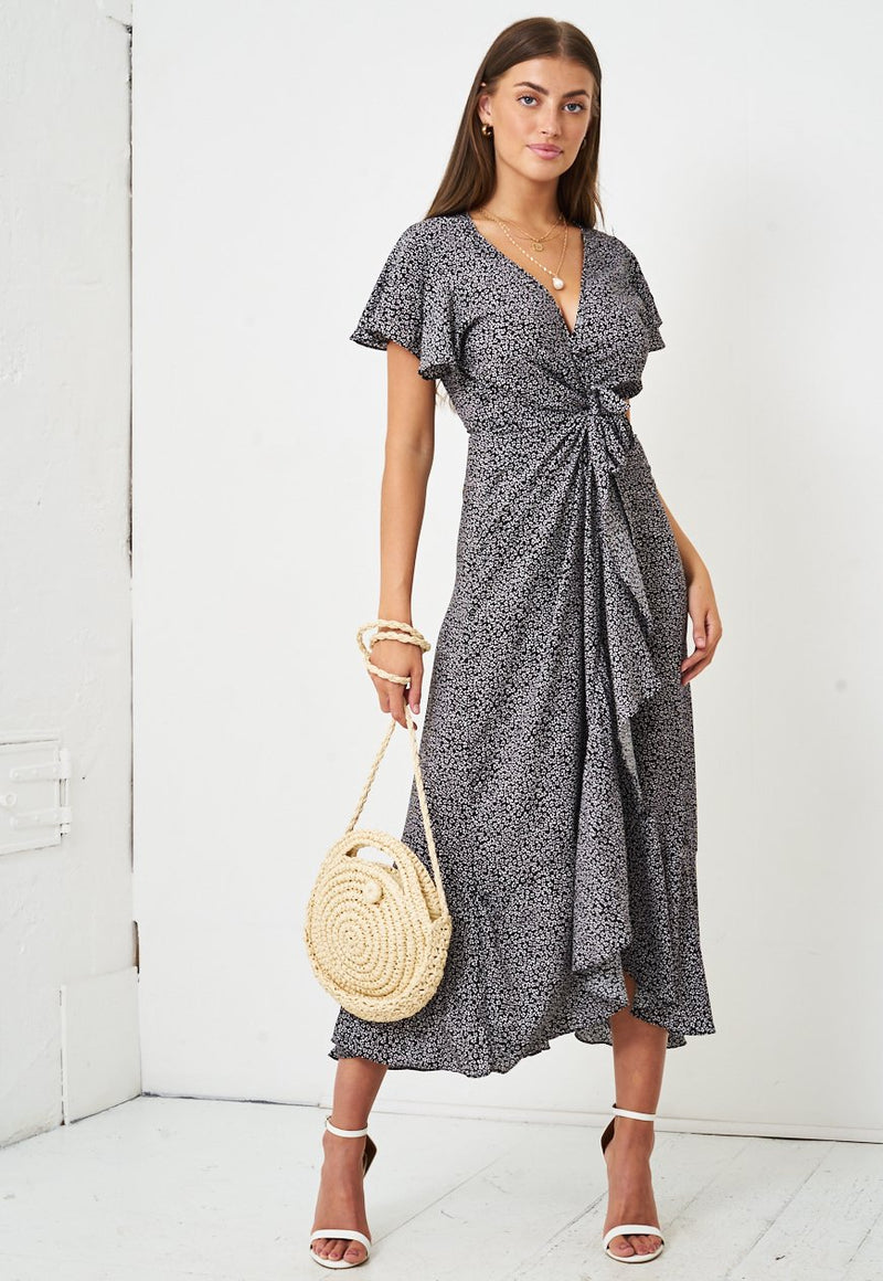 Ditsy Floral Short Sleeve Maxi Wrap Dress in Black - love frontrow