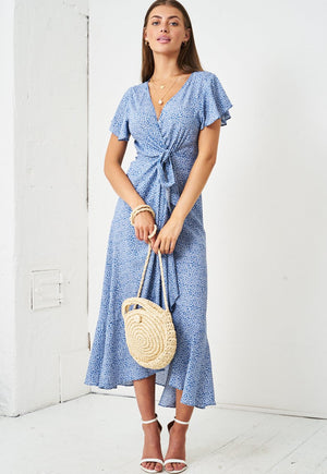 Ditsy Floral Short Sleeve Maxi Wrap Dress in Blue - love frontrow