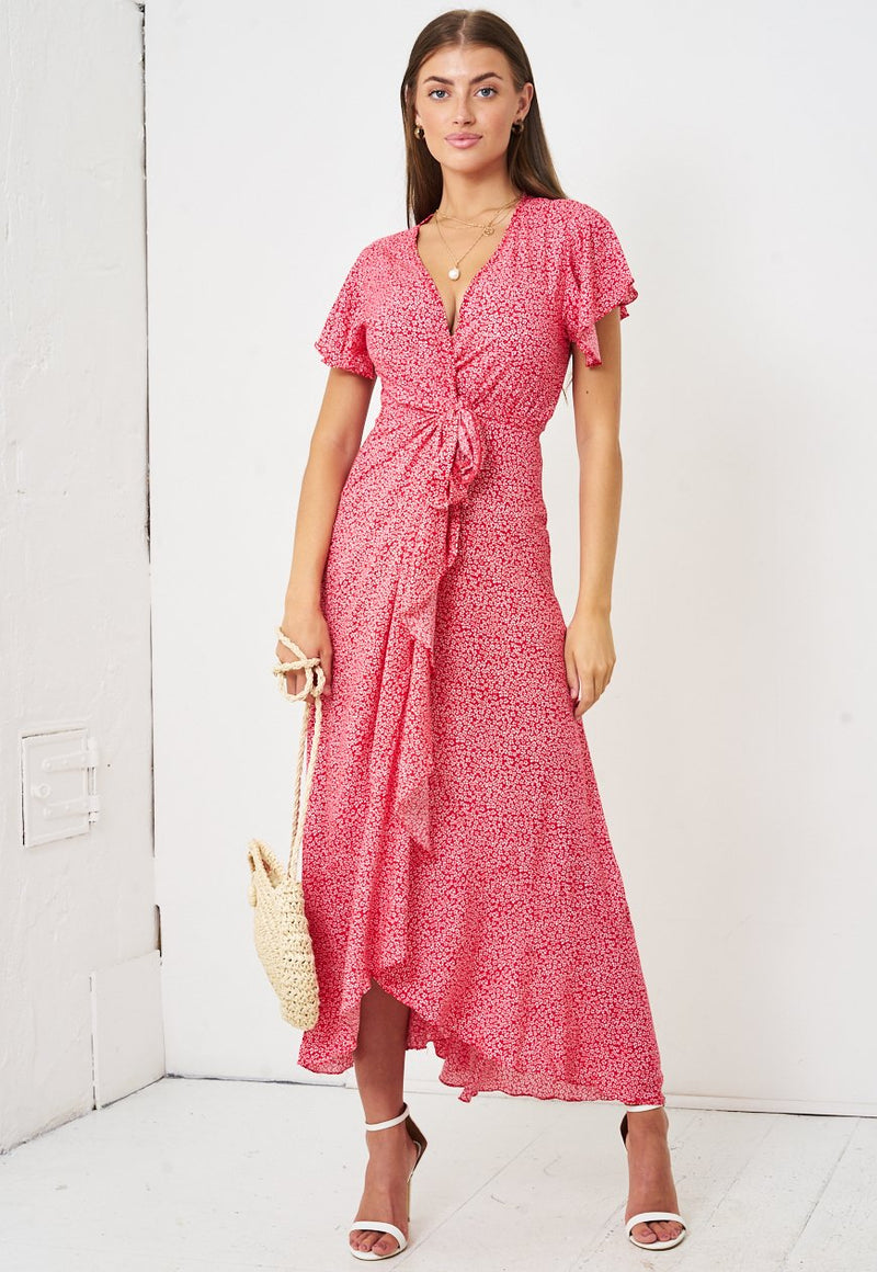 Ditsy Floral Short Sleeve Maxi Wrap Dress in Red - love frontrow