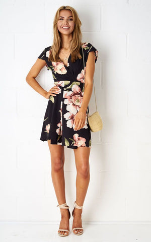 Dolores Floral Wrap Mini Dress In Black - love frontrow
