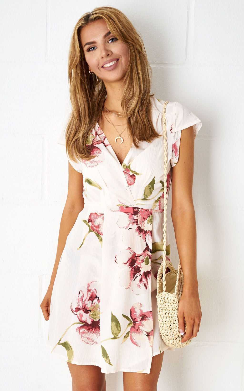 Dolores Floral Wrap Mini Dress In Nude - love frontrow