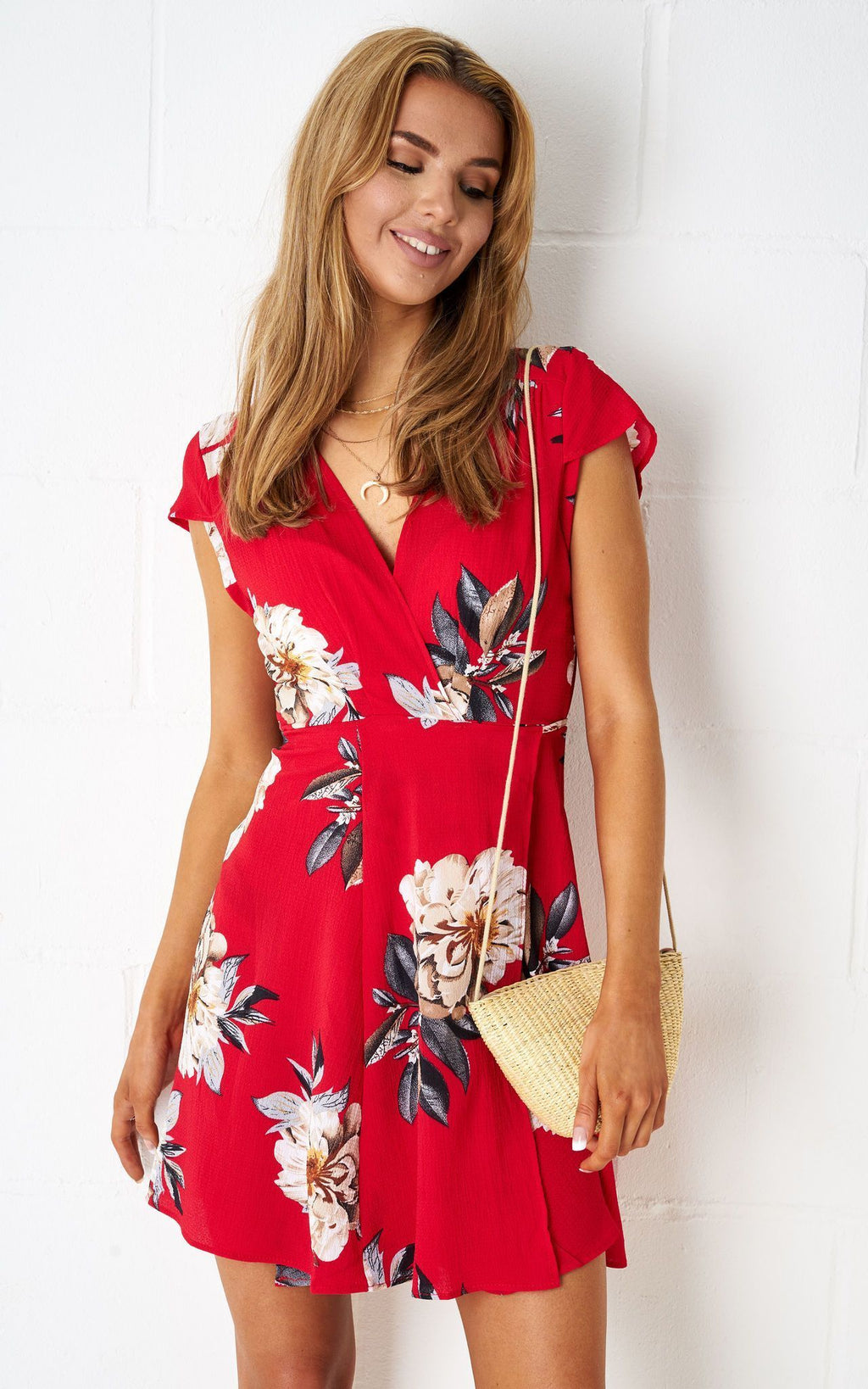 Dolores Floral Wrap Mini Dress In Red - love frontrow