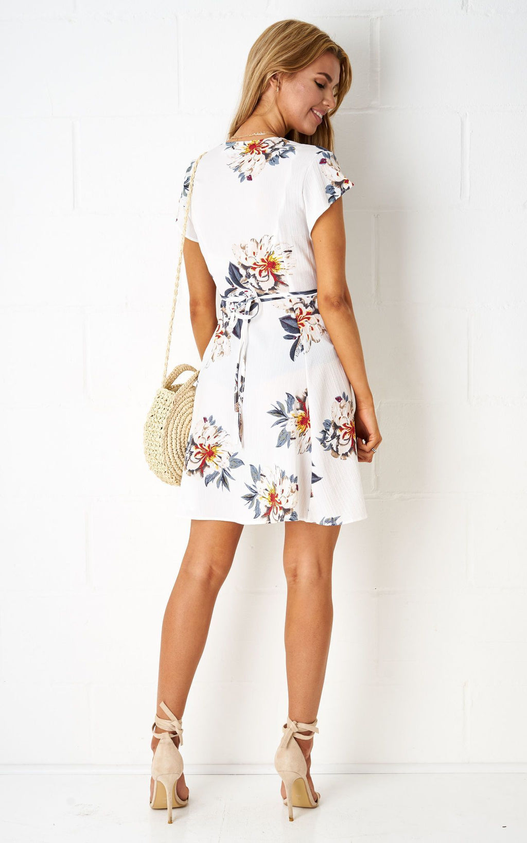 Dolores Floral Wrap Mini Dress In White - love frontrow