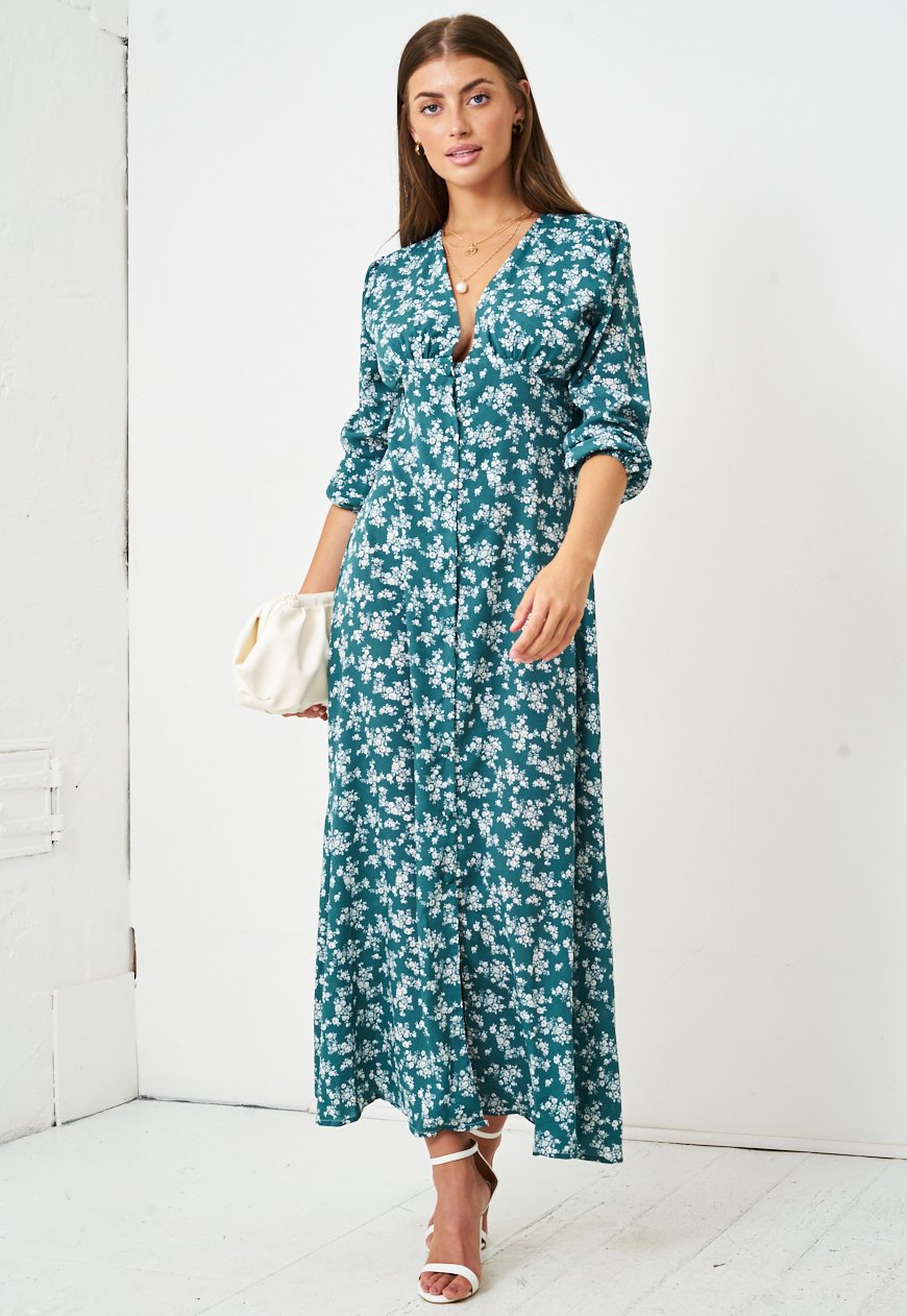 Floral Ditsy Empire Waist Maxi Dress in Green - love frontrow