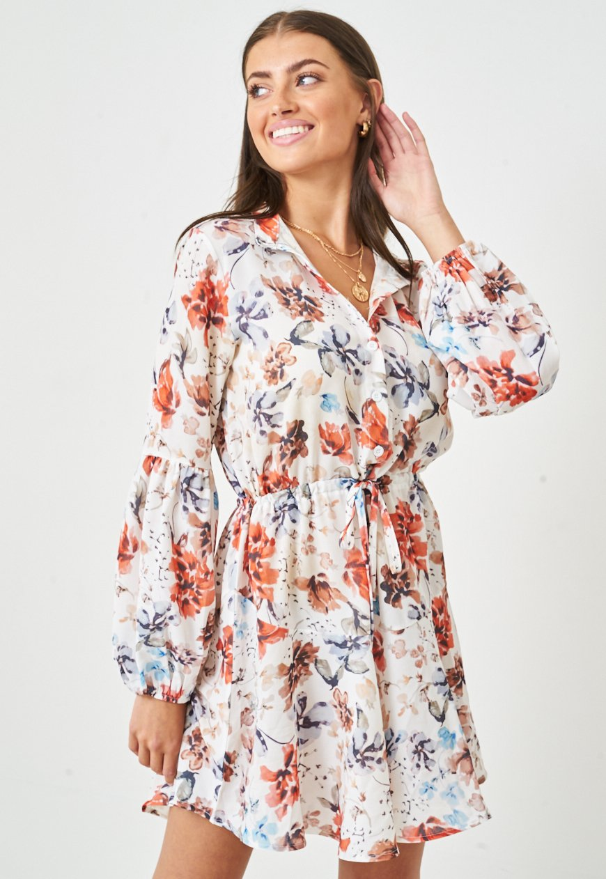 Floral Print Long Sleeve Mini Dress - love frontrow