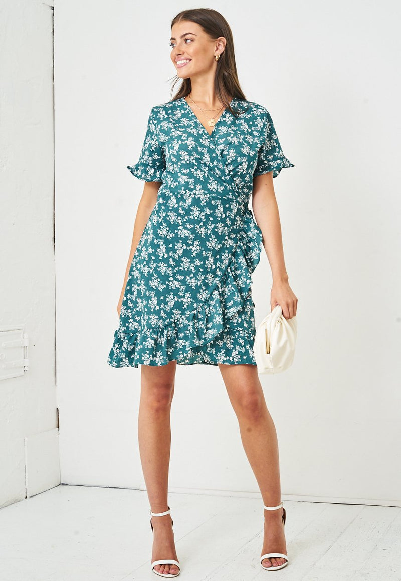 Floral Short Sleeve Mini Wrap Dress | Green - love frontrow