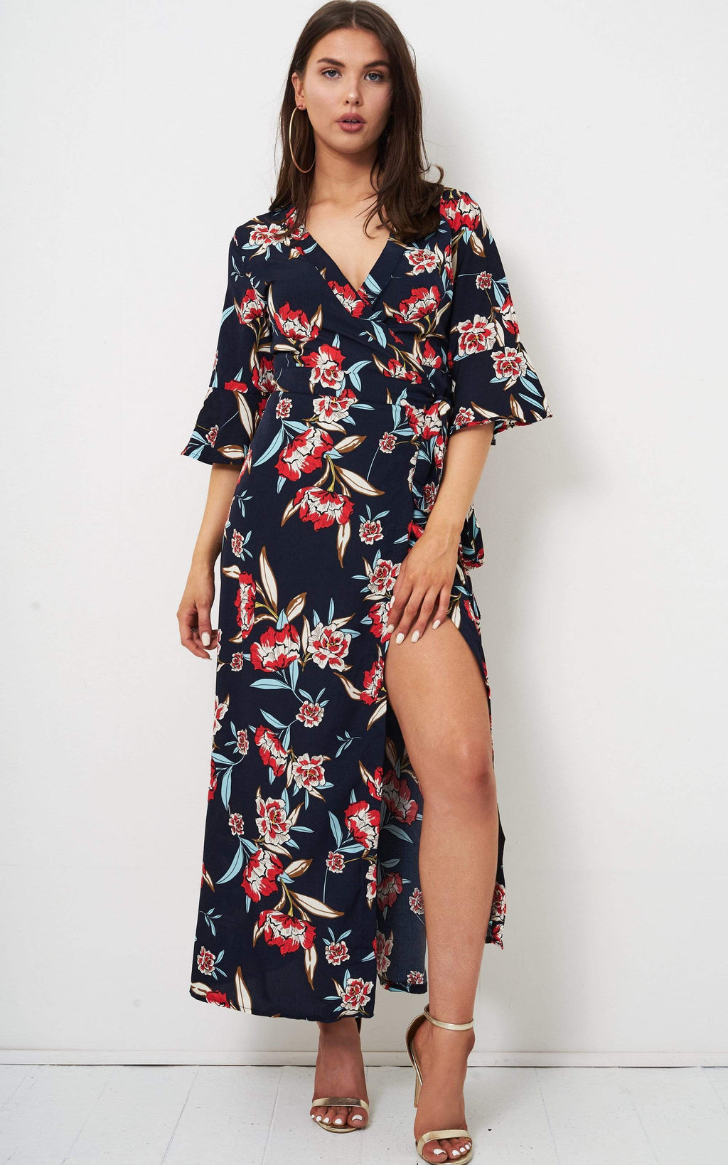 Giulia Navy Floral Wrap Maxi Dress - love frontrow
