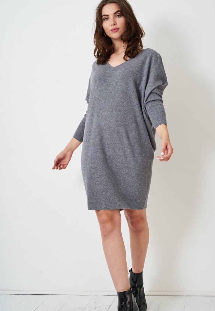 Grey Keyhole Batwing Knit Jumper Dress - love frontrow
